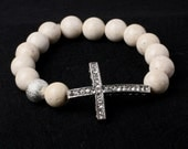 White bead Silver Cross bracelet