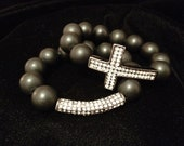 Onyx Pave Cross Set