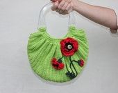 """Crochet bag """"Poppies"""" with two handles and decorated crochet red poppies / pastel green colors / handmade bag / handbag /OOAK"""