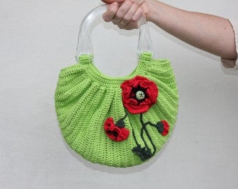 "Crochet bag ""Poppies"" with two handles and decorated crochet red poppies / pastel green colors / handmade bag / handbag /OOAK"