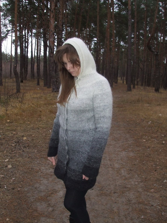 Hand knitted cardigan  / icelandic wool  / cardigan with hood / White Grey Black / Natural Undyed Wool