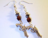 Red Beaded Silver Pistol Earrings