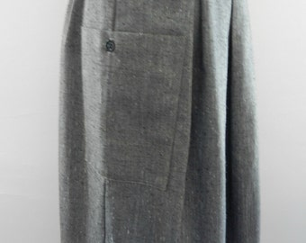 1980s gray a-line skirt with pockets