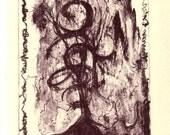 "Zen Mountain, original 9.5""x 6"" traditional lithograph print."