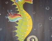 "original seahorse painting--""horse of a different color"""