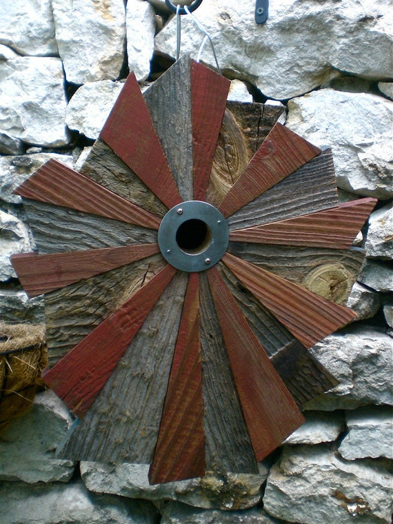 RESERVED for Margo--Flower-Patterned Rustic Birdhouse from Reclaimed Barn Wood and Metal Roofing