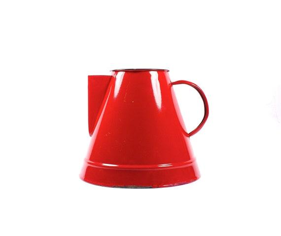 Retro tin red pitcher