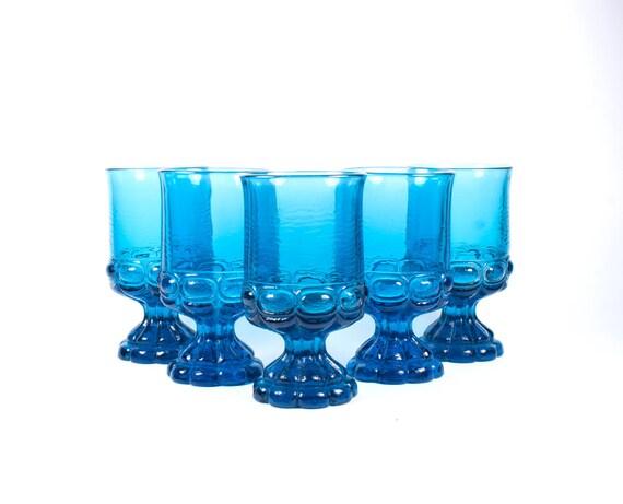 Vintage blue goblets glasses. Set of five.