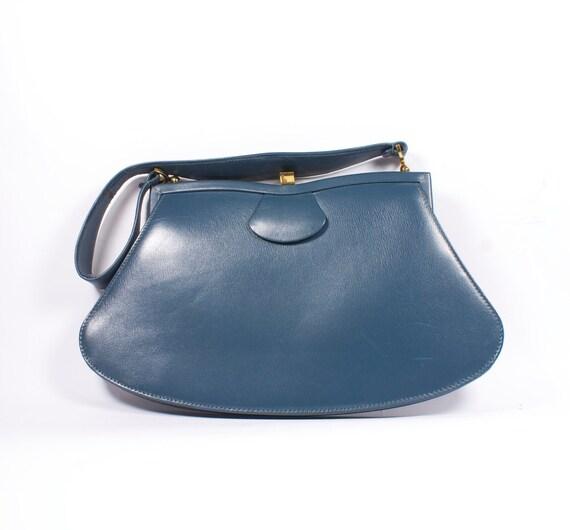 Vintage navy blue faux leather bag