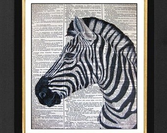 Zebra Humor, Zebra Print, Zebra Art Drawings, Zebra, size 8x10Vintage Dictionary page, Dictionary art, Dictionary print, Zebra Prints, Zebra