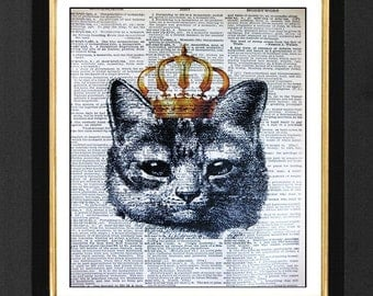 """Cat Gold Crown """" Mesmerized """" - ORIGINAL ARTWORK Mixed Media art print on 8x10 Vintage Dictionary page, Dictionary art, Dictionary print"""