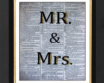 Mr. & Mrs. - ORIGINAL ARTWORK hand painted Mixed Media art print on 8x10 Vintage Dictionary page, Dictionary art, Dictionary print WH010
