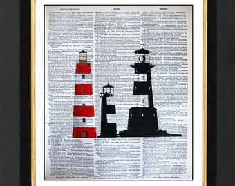 Lighthouse Print, Marine Lighthouse Decor, 8x10 Vintage Dictionary Page Art Print, Marine Decor,Beach Decor, Lighthouse Beach Decor