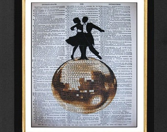 Ballroom Dancers, Dance Humor, Dancer Gift Ideas, Mixed Media art print on 8x10 Vintage Dictionary page, Dictionary art, Dictionary print