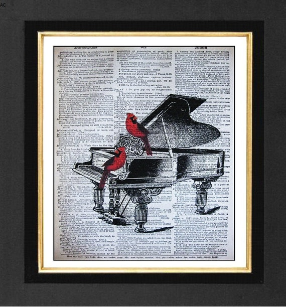 """Red Cardinals """" The Recital"""" Piano Music Prints, Mixed Media art print on 8x10 Vintage Dictionary page, Dictionary art, Dictionary print"""