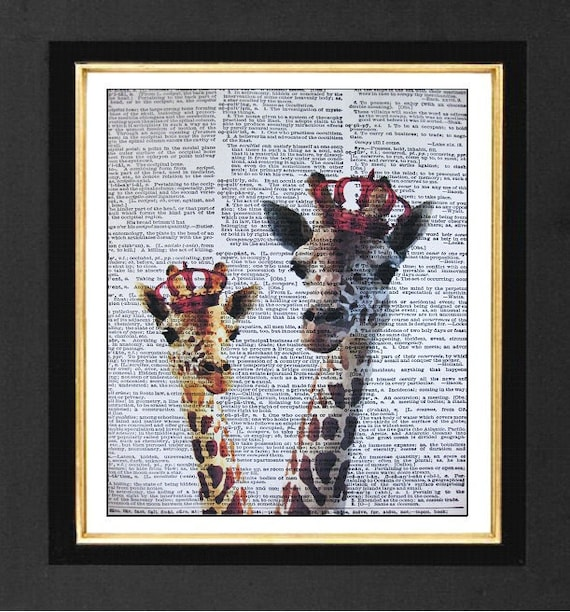 "Giraffe Art-"" Really Regal"" Giraffe Prints, Giraffe paintings, Mixed Media print on 8x10 Vintage Dictionary Page Art Prints, Giraffe Art"