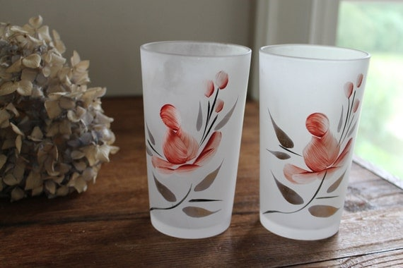 Vintage Frosted Handpainted Flowers Drinking Glasses Set of 2