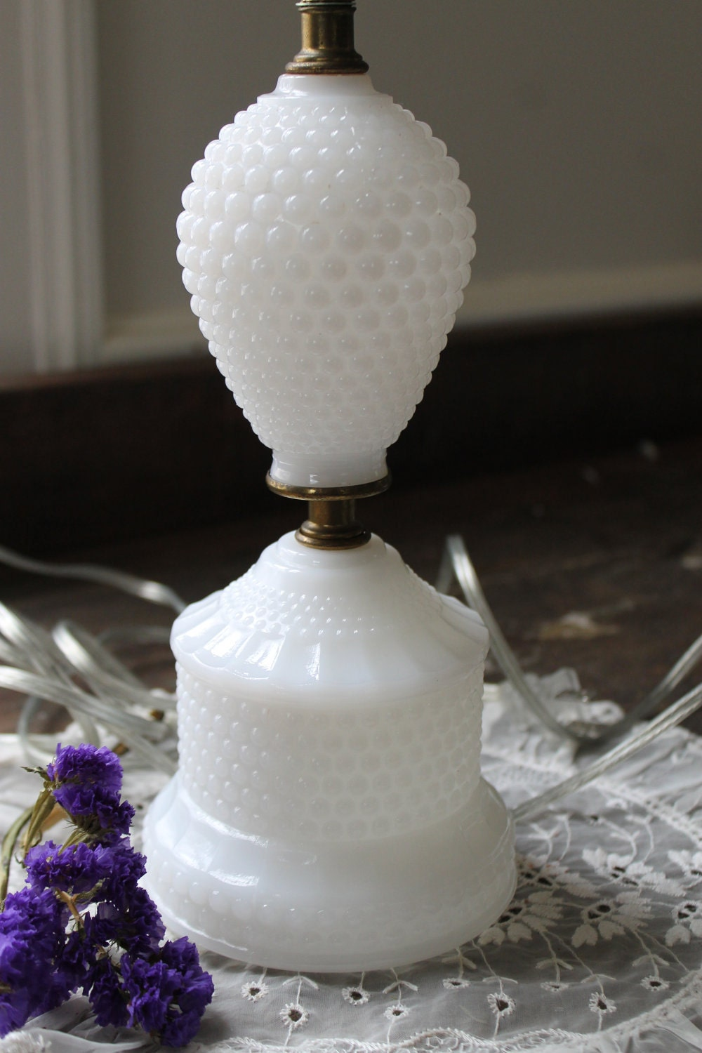 Vintage Milk Glass Table Lamp Hobnail By Southernvintagega