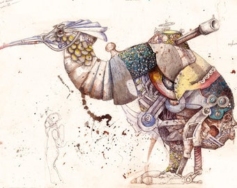 Wind-Up Kiwi Signed Archival Print // Steampunk Fantasy Illustration Art Print