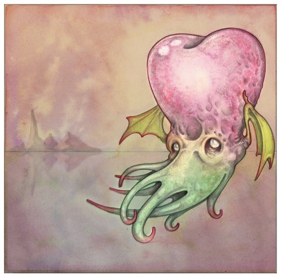 """Illustrated Greeting Card // Cthulhu Greeting Card """"I Love(craft) You"""" // Valentine's Day Art"""