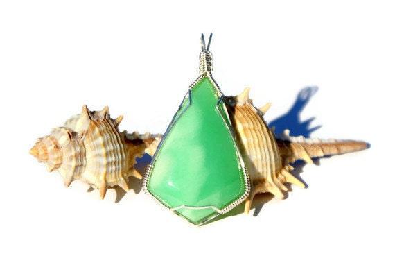 Wire Wrapped Chrysoprase Pendant,Green Semi Precious Gemstone,Argentium Silver