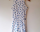White & Blue Polka Dot Romper