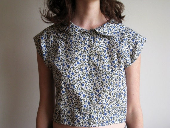 Vintage Cropped Floral Peter Pan Collared Blouse