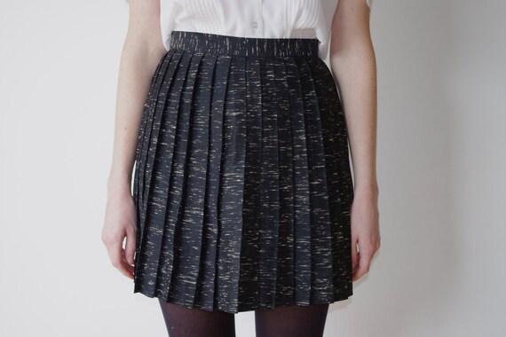 Crepe Pleated Black Mini Skirt