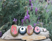 HOPE Driftwood Art with soft pinks, maroons, reds and heart accent