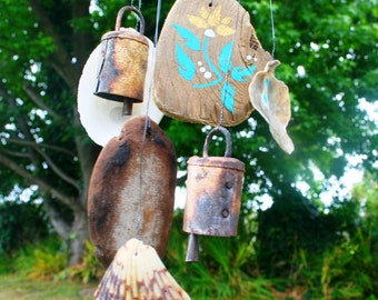 Let the Wedding Bells Ring: Golden Bell and Teal Flower Driftwood Windchime (Made to Order)