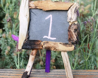 Driftwood Chalkboard Easel -- Wedding Table Number, Message board, Idea (Made to Order)