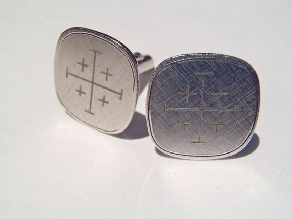 Vintage Silvertone Cross Pattern Cufflinks