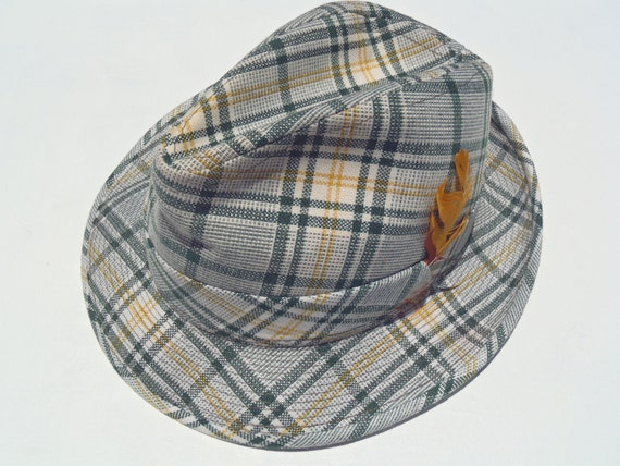 1960s Green and Gold Plaid Fedora with Feather
