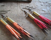 Bullet Casing & Porcupine Quill Tribal Earrings- Tangerine Peach or Raspberry Pink