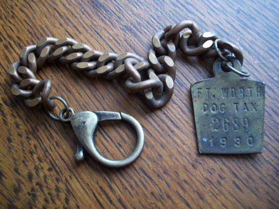 Big Bad Wolf- 1930 Dog Tag & Vintage Curb Chain Unisex Bracelet