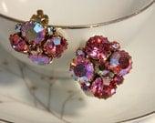 Vintage Aurora Borealis pink rhinestone clip-on earrings