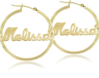 Large Name Hoop Earrings (order any name) - Handmade Nameplate Earrings in Yellow Gold, Rose Gold Or Sterling Silver
