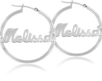 Personalized Handmade Hoop Earrings (order any name)- Sterling Silver