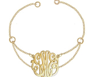 10K Yellow Gold - Personalized Monogram Bracelet, Initials Bracelet or Monogram Anklet (Order Any Initials)