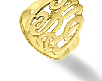 10K, 14K or 18K Solid Gold Initials Ring - Handmade Monogram Ring  (Order Your Initials) - White, Yellow or Rose Gold