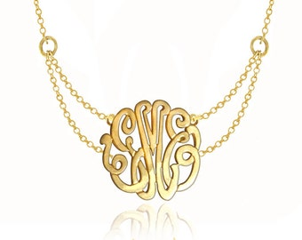 Handcrafted Initials Necklace Small to Large  - Sterling Silver w/ 24K Yellow Gold Overlay (Choose Your Initials)