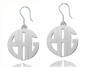 Silver Monogram Earrings - Personalized Initials Earrings - Ear Wire Earrings - Small to Large Earrings (Any Name Initials)
