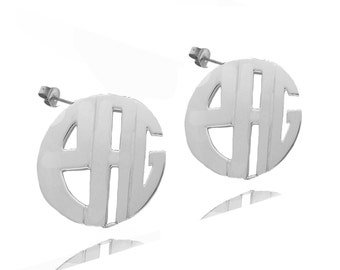 Personalized Handmade Monogram Earrings (order any initials) - Sterling Silver