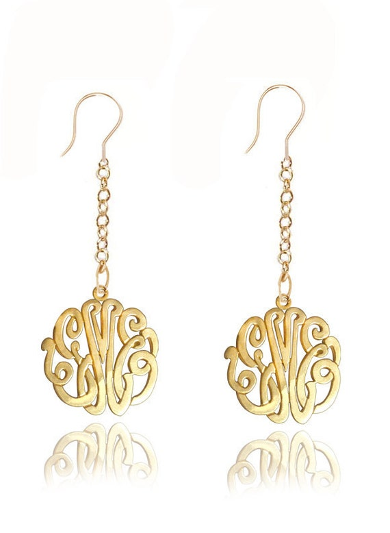 Personalized monogram Earrings (Order Your Initials) - Sterling Silver and 24K Gold