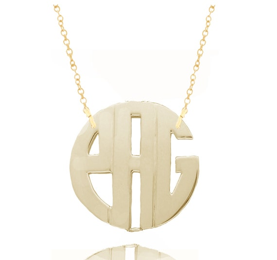 Personalized Monogram Initials Small to Large (Order Any Initials) - Sterling Silver & 24K Gold