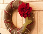 I Love Dahlias Red Felt Gray Yarn Wreath