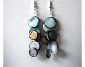 geometric earrings, long beaded dangle earrings,  teal brown and natural cluster dangle Earrings, statement earrings