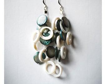teal green and white beaded shell dangly earrings- statement jewelry- huge earrings- long earrings-statement jewelry