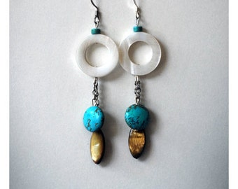 Turquoise Earrings ,natural turquoise bead earring white mother of pearl beaded dangle earring