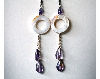 Amethyst and shell dangly earings - every day earings- purple earrings - dangle earrings